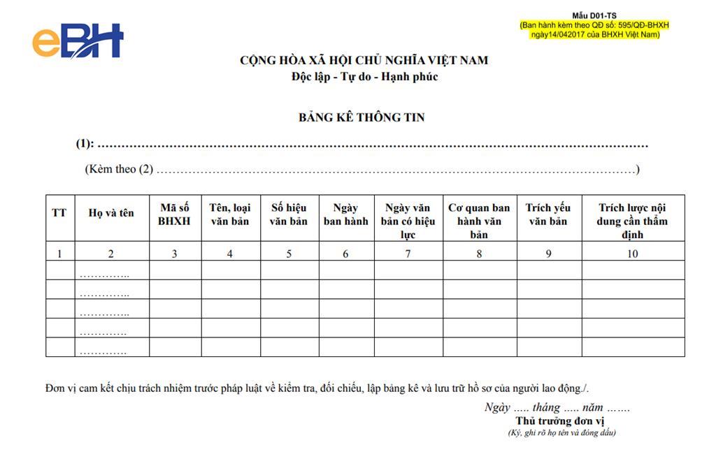 mẫu Bảng kê thông tin D01-TS