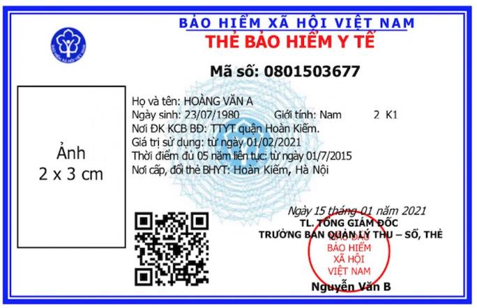 Mặt trước của thẻ BHYT mới được áp dụng từ 1/4/2021.