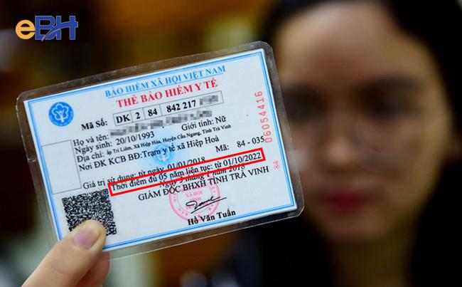 Trên thẻ BHYT ghi thời điểm đủ 05 năm liên tục tính từ ngày ghi trên thẻ