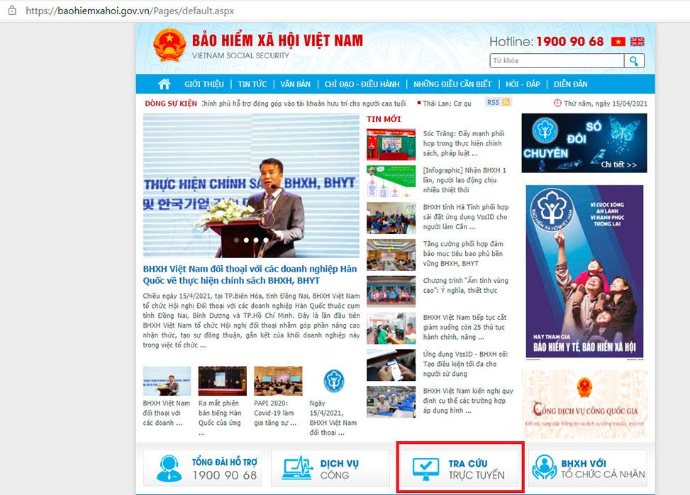Truy cập Cổng thông tin BHXH Việt Nam - ảnh